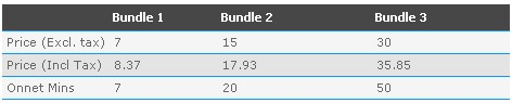 Talkshawk Voice Bundle Tariff