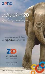 Zong 45 Paisa Print Ad