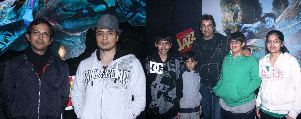 Lahore: (L) Head of Jazz Communications, Mobilink, Ali Murtaza along with Jazz Brand Ambassador Ali Zafar at the screening of Avatar organized by Mobilink Jazz. (R) Wasim Akram at the event with his family.