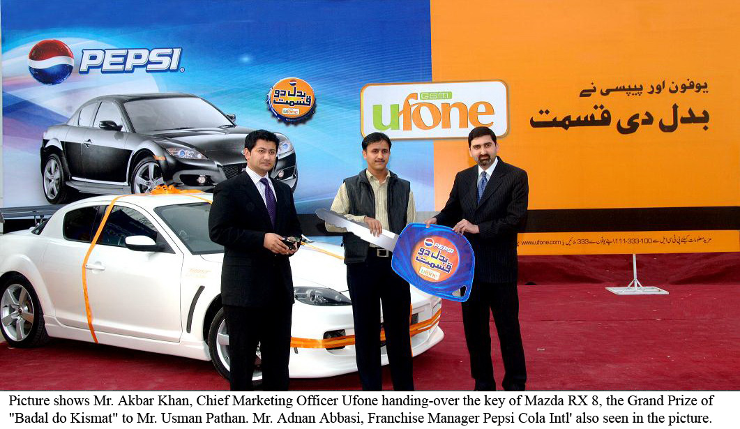 """Ufone & Pepsi Announced the Winner of Grand Prize """"Mazda RX 8"""""""