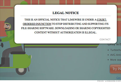 LimeWire Legal Notice