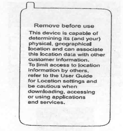 Verizon Phone Warning Label