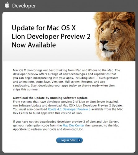 mac os x lion preview 2 update
