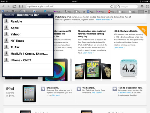 Terra Browser Bookmarks Bar