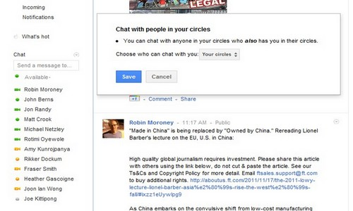 Google Chat Privacy Setting