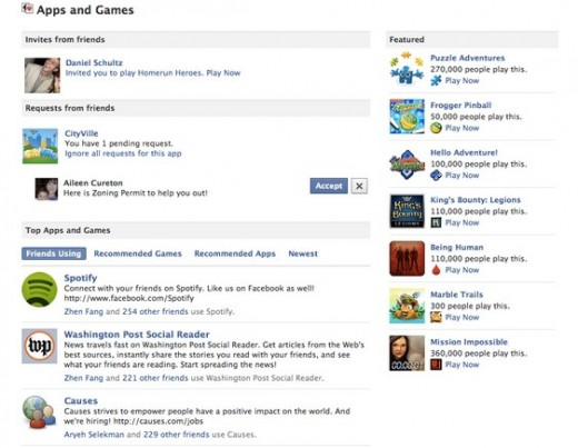 Apps and Games Facebook Dashboard