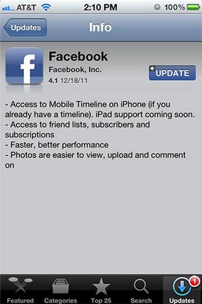 Facebook for iPhone update
