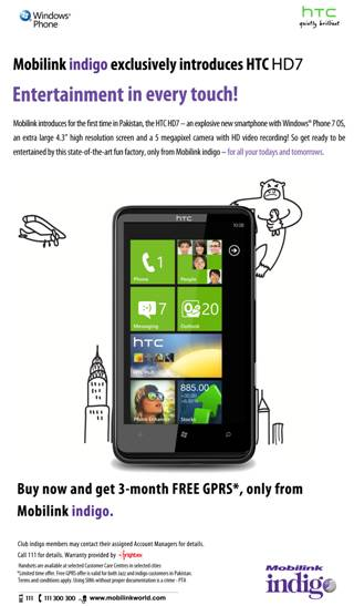Mobilink Exclusively Introduces HTC HD7 Smartphone in Pakistan